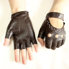 Load image into Gallery viewer, Rivet Half Finger Leather Driving Gloves - Royal  Holiday Shop