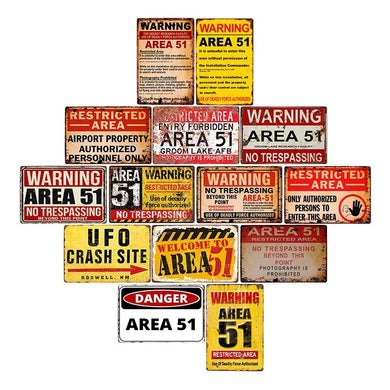 Warning Area 51 Metal Vintage  Style Wall Plaques - Les Royal
