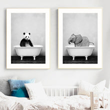 Load image into Gallery viewer, Baby Animal Bathtub Canvas Poster Art Decor - Royal  Holiday Shop