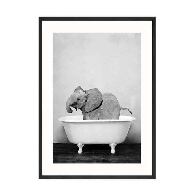 Baby Animal Bathtub Canvas Poster Art Decor - Royal  Holiday Shop