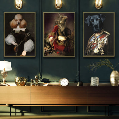 Vintage Style Animal Oil Painting Wall Art - Royal  Holiday Shop
