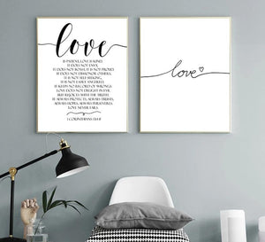 Love Scandinavian Style Black and White Canvas Wall Art - Royal  Holiday Shop