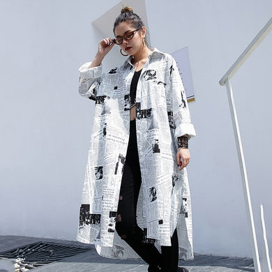News Print Lapel Black & White Long Sleeve Over-sized Shirt - Royal  Holiday Shop