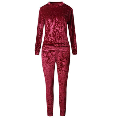 Casual Two Piece Warm Velvet  Track Suit - Royal  Holiday Shop