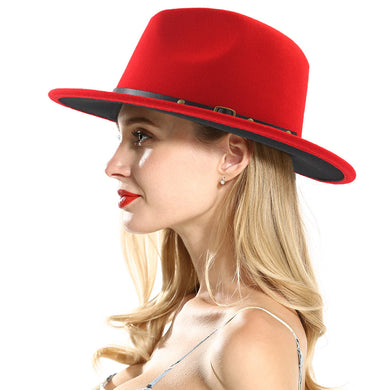 Top Stance  Red & Black Wool Fedora Hat - Royal  Holiday Shop