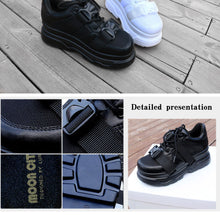 Load image into Gallery viewer, Stacks Platform Black Buckle Chunky Sneakers - Royal  Holiday Shop