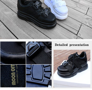 Stacks Platform Black Buckle Chunky Sneakers - Royal  Holiday Shop