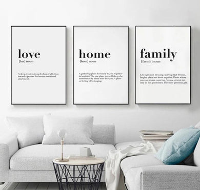 Love Home Family Quote Print Modern Wall Art - Royal  Holiday Shop
