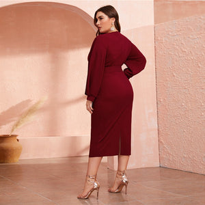 Burgundy Plunging Neck  Belted Plus Size Wrap Dress - Royal  Holiday Shop