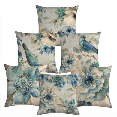 Decorative Floral &  Birds Throw Pillow Cushion Covers - Les Royal