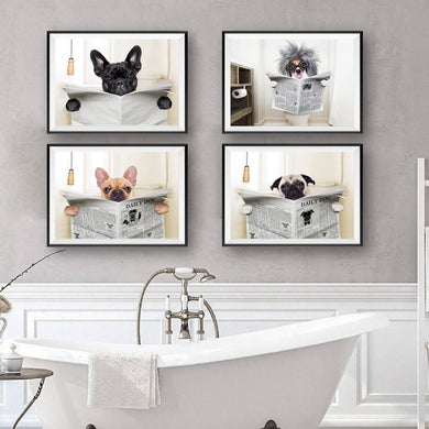 Daily Dog Reading Bathroom Wall Art - Les Royal