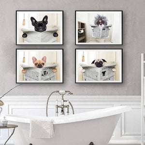 Daily Dog Reading Bathroom Wall Art - Royal  Holiday Shop