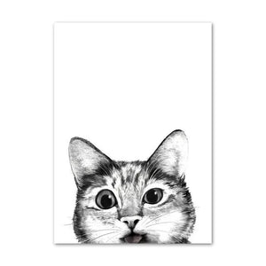 The Lookout  Kitty Cats Black White Canvas Painting - Royal  Holiday Shop