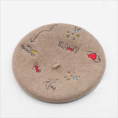Love Flight Wool Embroidered Retro French Beret - Royal  Holiday Shop