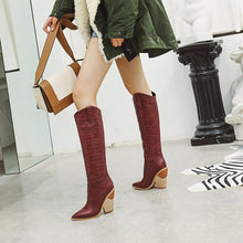 Load image into Gallery viewer, New Animal Print Embossed Knee High Wedge Boots - Royal  Holiday Shop