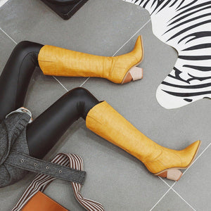 New Animal Print Embossed Knee High Wedge Boots - Royal  Holiday Shop