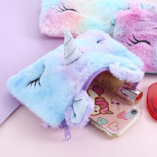 Load image into Gallery viewer, Unicorn Plush Rainbow Shoulder  Cross body Handbag For Phone Square Rainbow Fur Flap Purse - Royal  Holiday Shop