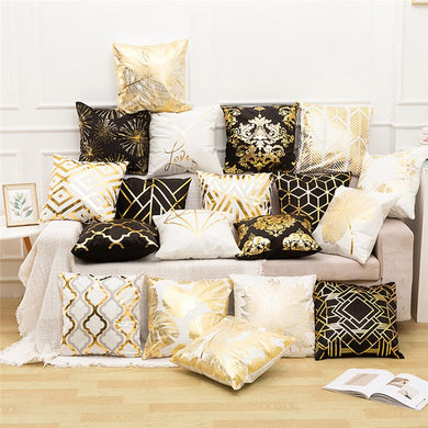 Royal Black Gold Foil Collection Decorative Pillows Covers - Les Royal