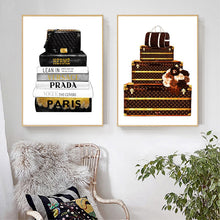 Load image into Gallery viewer, Luxe Bags & Books Canvas Wall Poster Prints - Royal  Holiday Shop