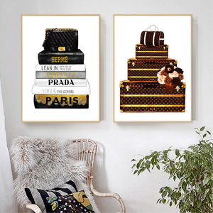 Luxe Bags & Books Canvas Wall Poster Prints - Royal  Holiday Shop