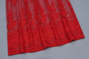 High Hollow Red Lace Party Dress - Royal  Holiday Shop