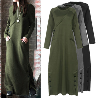 Buttons Casual Long Sleeve Fleece Dress - Royal  Holiday Shop