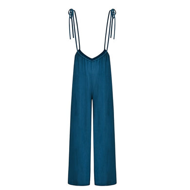 Wide Leg Overall Romper Jumpsuit - Royal  Holiday Shop
