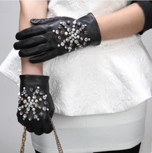 Load image into Gallery viewer, Snowflake Embellished Leather Sheepskin Gloves - Royal  Holiday Shop