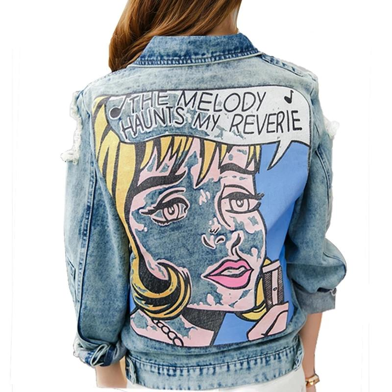 Vintage Style Distressed Cartoon Print Denim Jacket - Les Royal