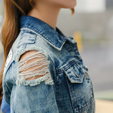 Load image into Gallery viewer, Vintage Style Distressed Cartoon Print Denim Jacket - Les Royal
