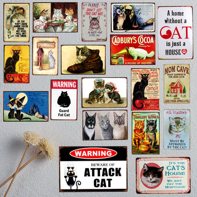 Best Metal  Funny Vintage Retro Cat Sayings Wall Signs - Les Royal