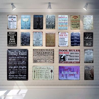 Family Rules Vintage Style Tin Signs - Les Royal