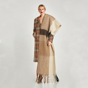 Patchwork Solid Warm Cozy Scarf Shawl Blanket Wrap - Royal  Holiday Shop