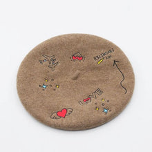 Load image into Gallery viewer, Love Flight Wool Embroidered Retro French Beret - Les Royal