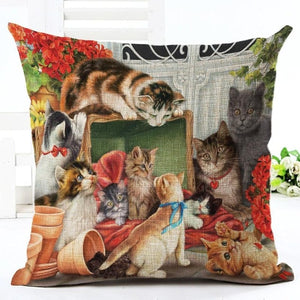 Pastoral Style Cute Cartoon Cat Pillow Covers - Les Royal