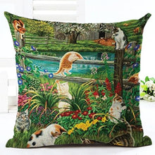 Load image into Gallery viewer, Pastoral Style Cute Cartoon Cat Pillow Covers - Les Royal