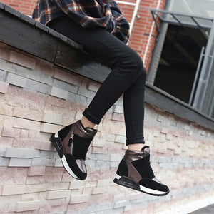 Plush Wedge High Top Sneakers - Royal  Holiday Shop
