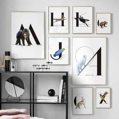 Cute Canvas Modern Alphabet Wall Art - Les Royal