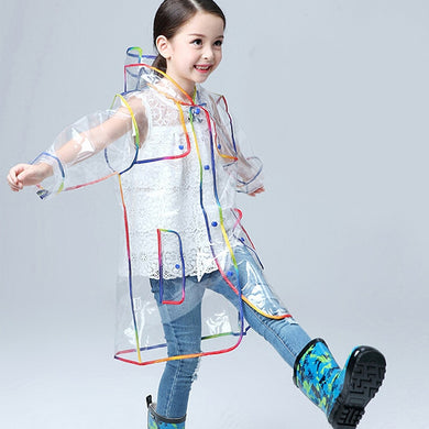 Girls Rainbow Trimmed Hooded Transparent Clear Stylish Waterproof Raincoat - Les Royal