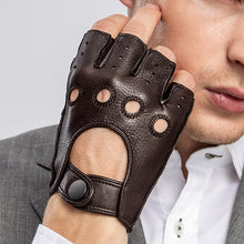 Load image into Gallery viewer, Men's Genuine Unlined Half Finger Leather Driving Gloves - Royal  Holiday Shop