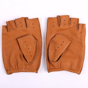 Men's Genuine Unlined Half Finger Leather Driving Gloves - Royal  Holiday Shop