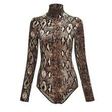 Load image into Gallery viewer, Leopard Long Sleeve Turtleneck Bodysuit  Body Suit - Les Royal