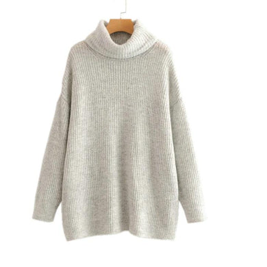 Causal Warm Long Knit  Turtleneck  Pull On Style Sweater - Royal  Holiday Shop