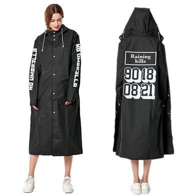 New Statement Hooded Long Raincoat - Royal  Holiday Shop