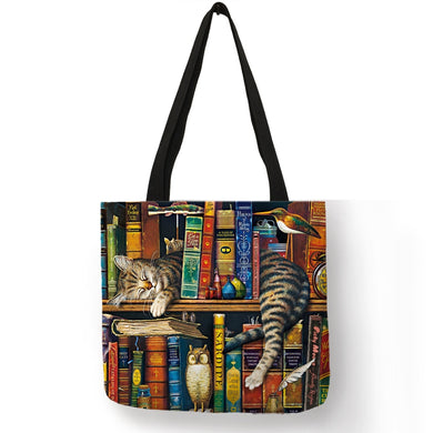 Eco Friendly Cat Lover Printed Tote Shoulder Bags - Royal  Holiday Shop