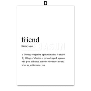 Home Friend Travel Love Definition Quotes Wall Canvas Prints - Les Royal