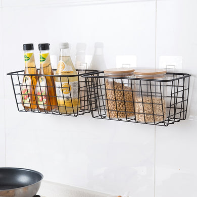 Eco-Friendly Wire Kitchen Hanging Storage Baskets With Suction Cups - Royal  Holiday Shop
