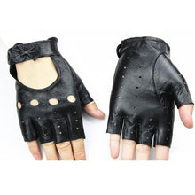 Load image into Gallery viewer, Bow Fingerless Leather Sheepskin Driving Gloves - Royal  Holiday Shop