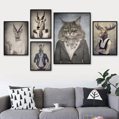 Nordic Cat Deer & Antelope Wall Decor - Royal  Holiday Shop