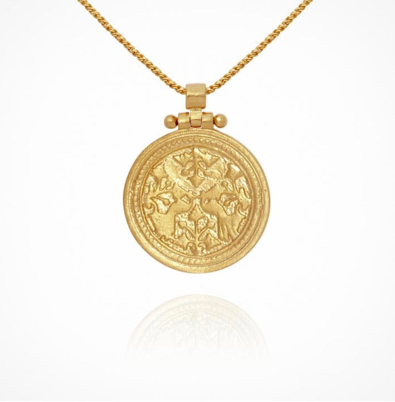 Temple of the Sun - Peacock Necklace Gold
